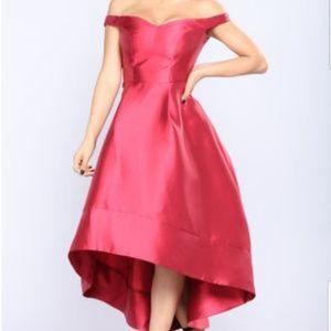 Red Hi-Lo Party dress Satin